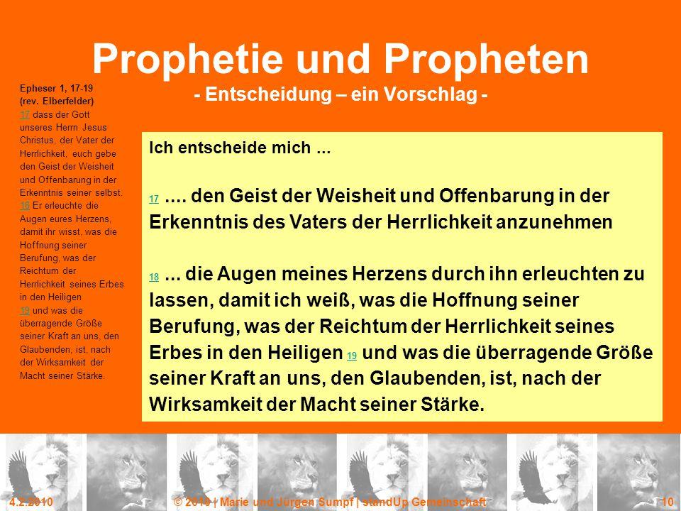 Prophetie und Propheten - Entscheidung – ein Vorschlag -
