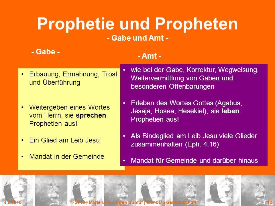 Prophetie und Propheten - Gabe und Amt -