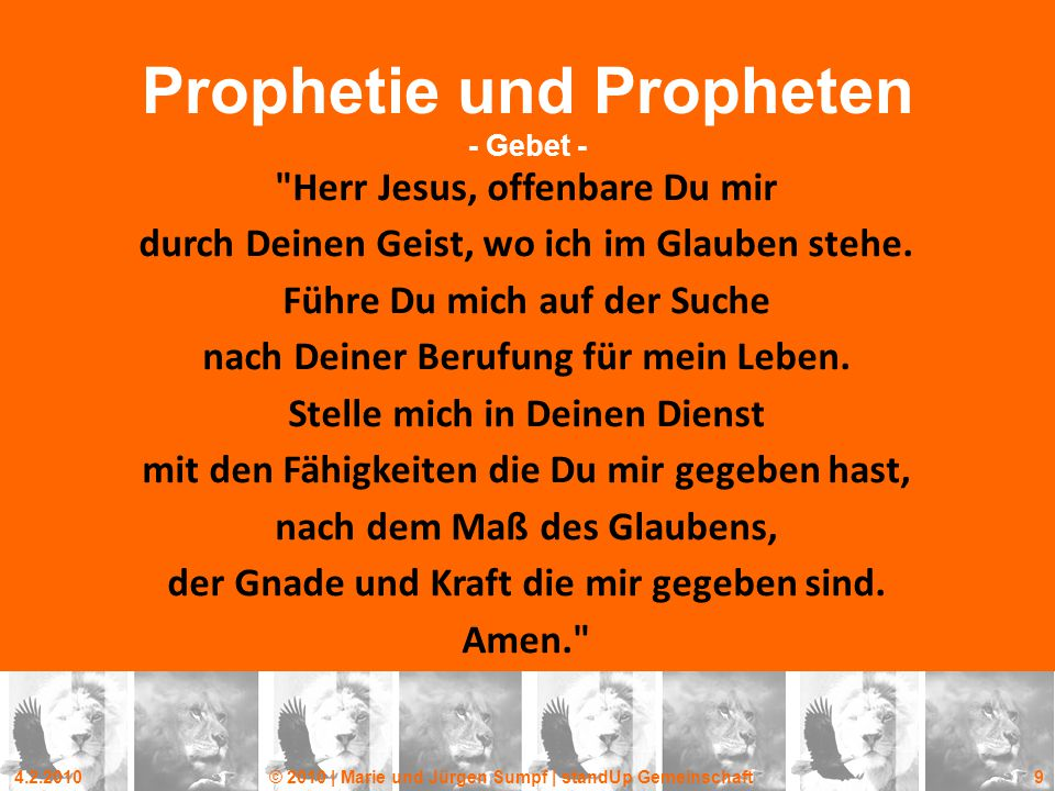 Prophetie und Propheten - Gebet -