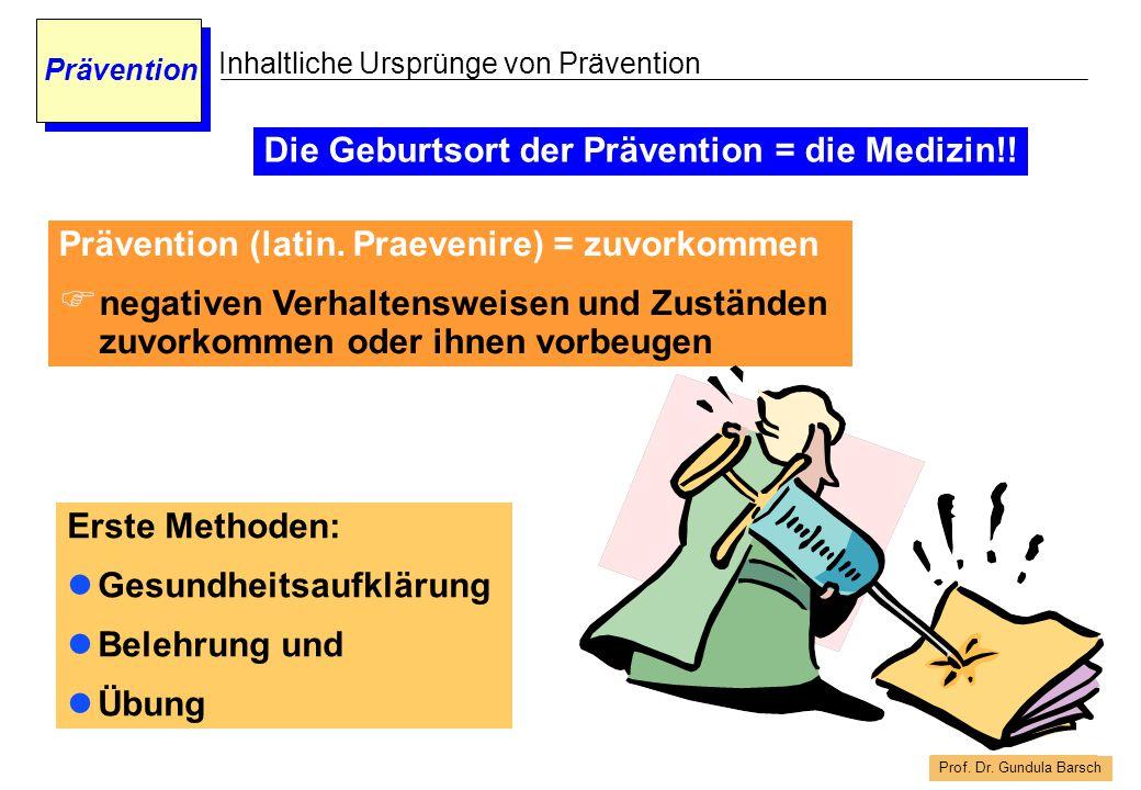 Die Geburtsort der Prävention = die Medizin!!