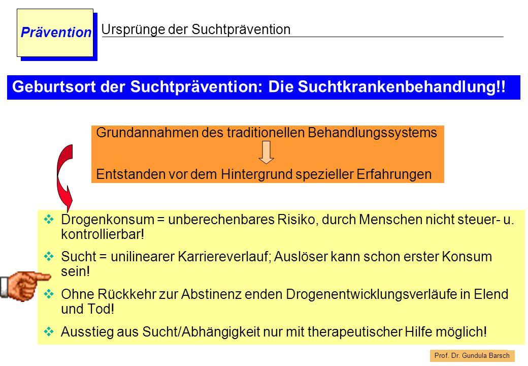 Geburtsort der Suchtprävention: Die Suchtkrankenbehandlung!!