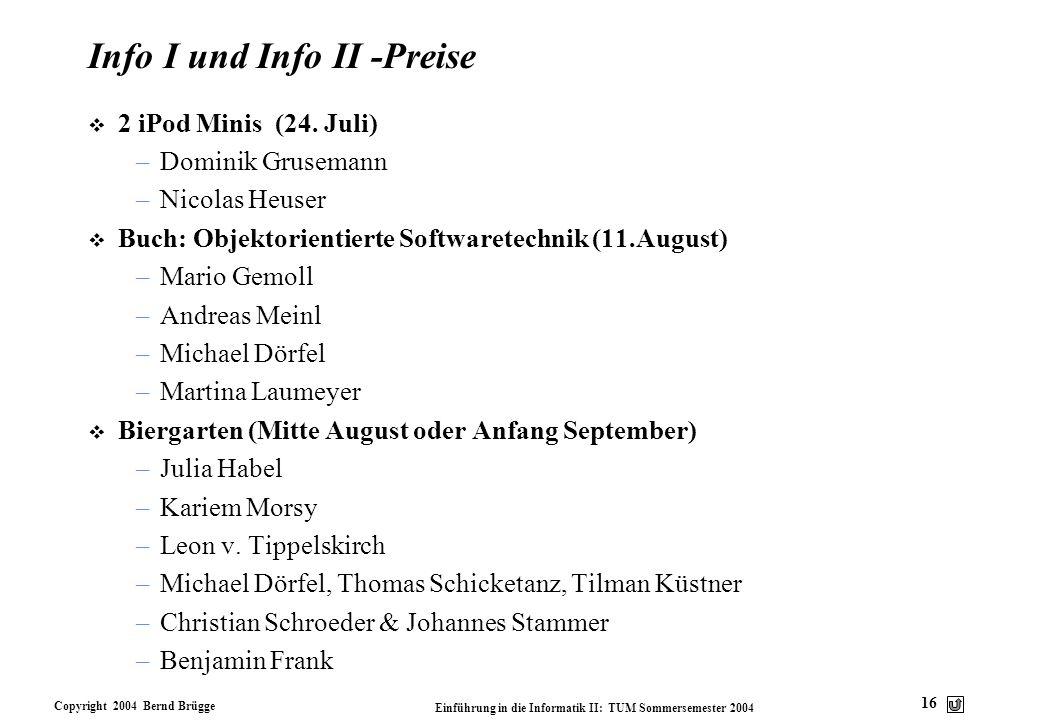 Info I und Info II -Preise