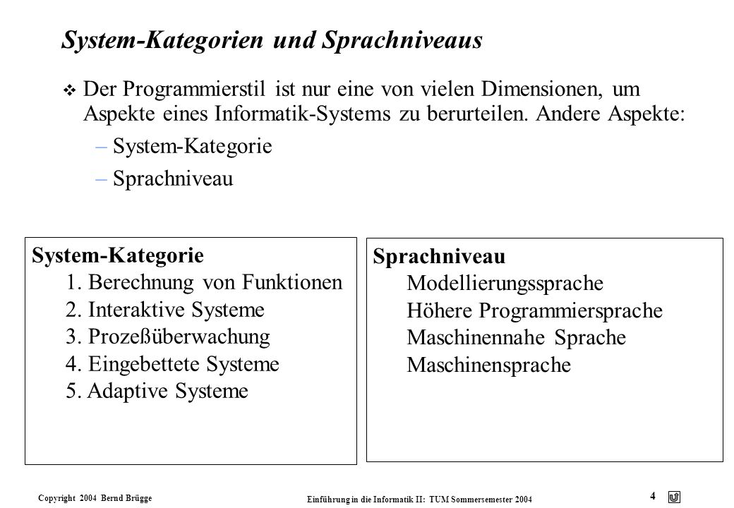 System-Kategorien und Sprachniveaus