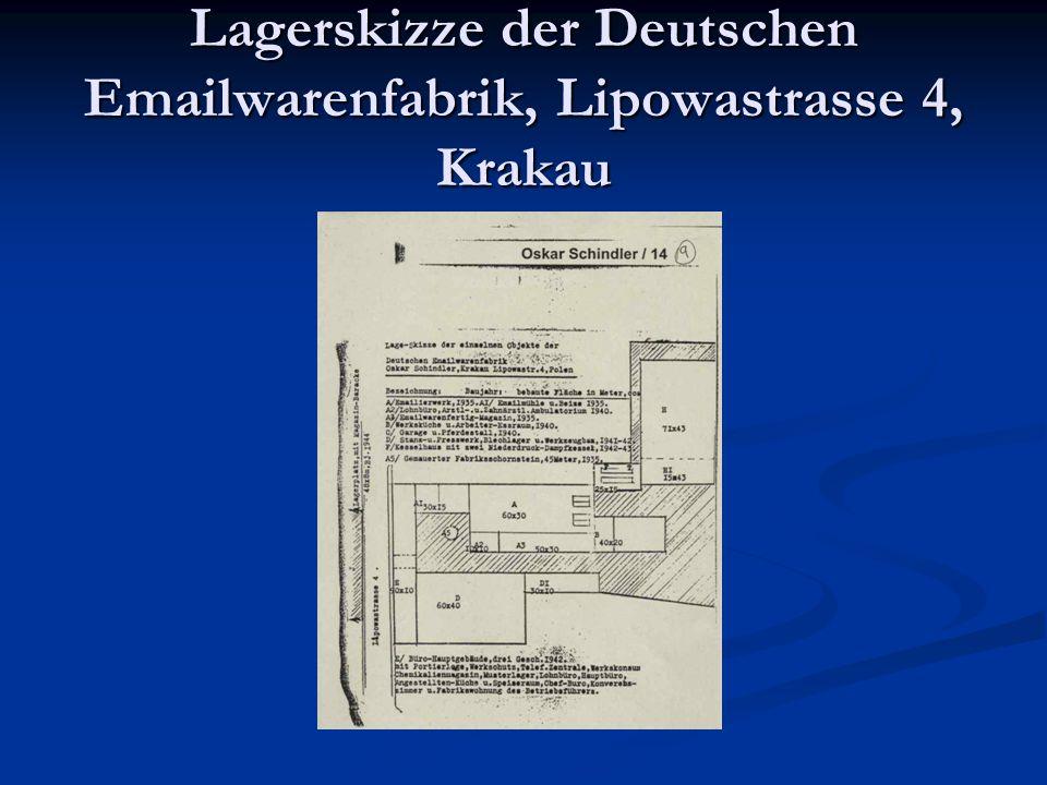 Lagerskizze der Deutschen Emailwarenfabrik, Lipowastrasse 4, Krakau