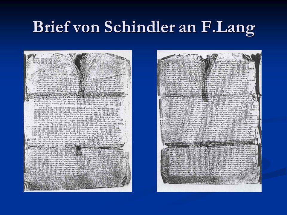 Brief von Schindler an F.Lang