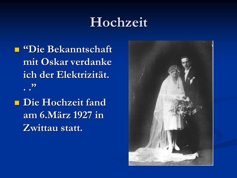 Hochzeit Die Bekanntschaft mit Oskar verdanke ich der Elektrizität.