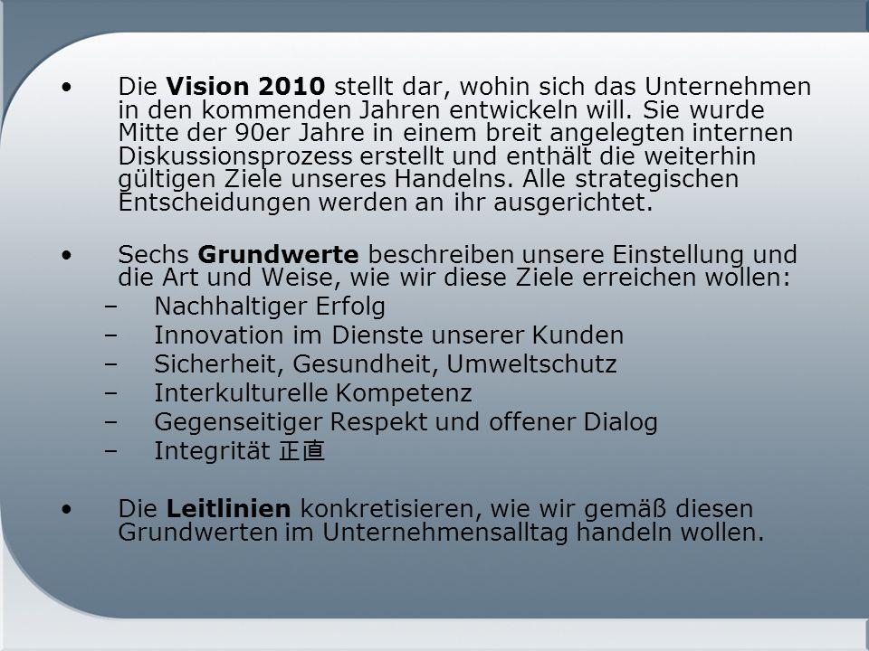 Die Vision 2010 stellt dar, wohin sich das Unternehmen in den kommenden Jahren entwickeln will. Sie wurde Mitte der 90er Jahre in einem breit angelegten internen Diskussionsprozess erstellt und enthält die weiterhin gültigen Ziele unseres Handelns. Alle strategischen Entscheidungen werden an ihr ausgerichtet.