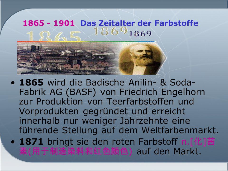 1865 - 1901 Das Zeitalter der Farbstoffe