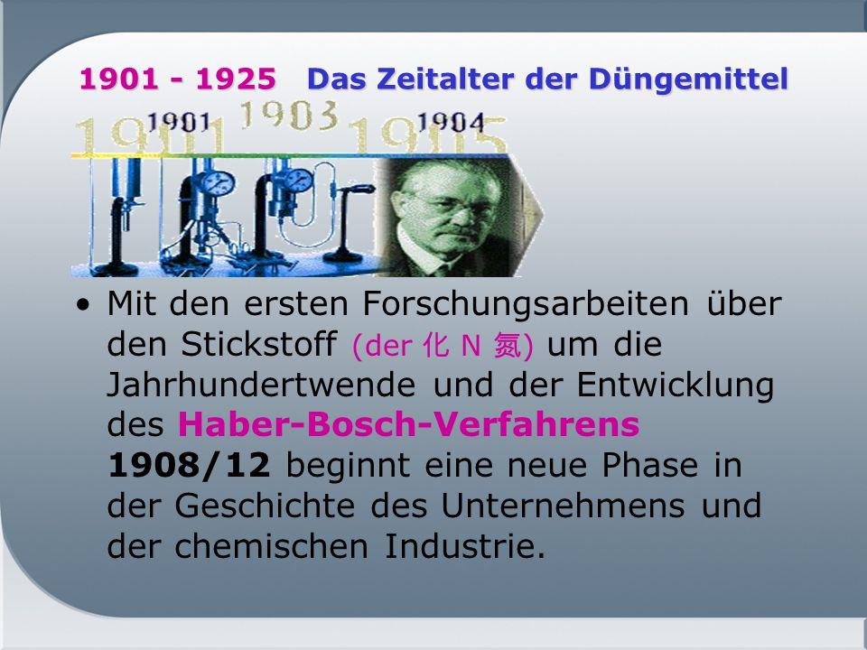 1901 - 1925 Das Zeitalter der Düngemittel