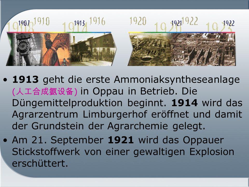 1913 geht die erste Ammoniaksyntheseanlage (人工合成氨设备) in Oppau in Betrieb. Die Düngemittelproduktion beginnt. 1914 wird das Agrarzentrum Limburgerhof eröffnet und damit der Grundstein der Agrarchemie gelegt.