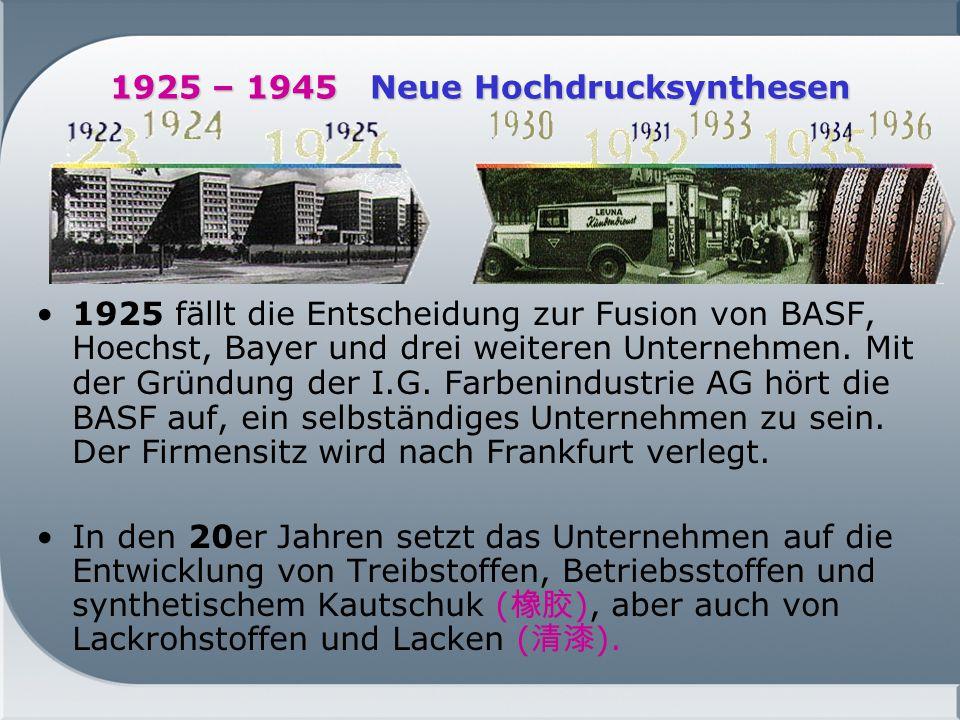 1925 – 1945 Neue Hochdrucksynthesen
