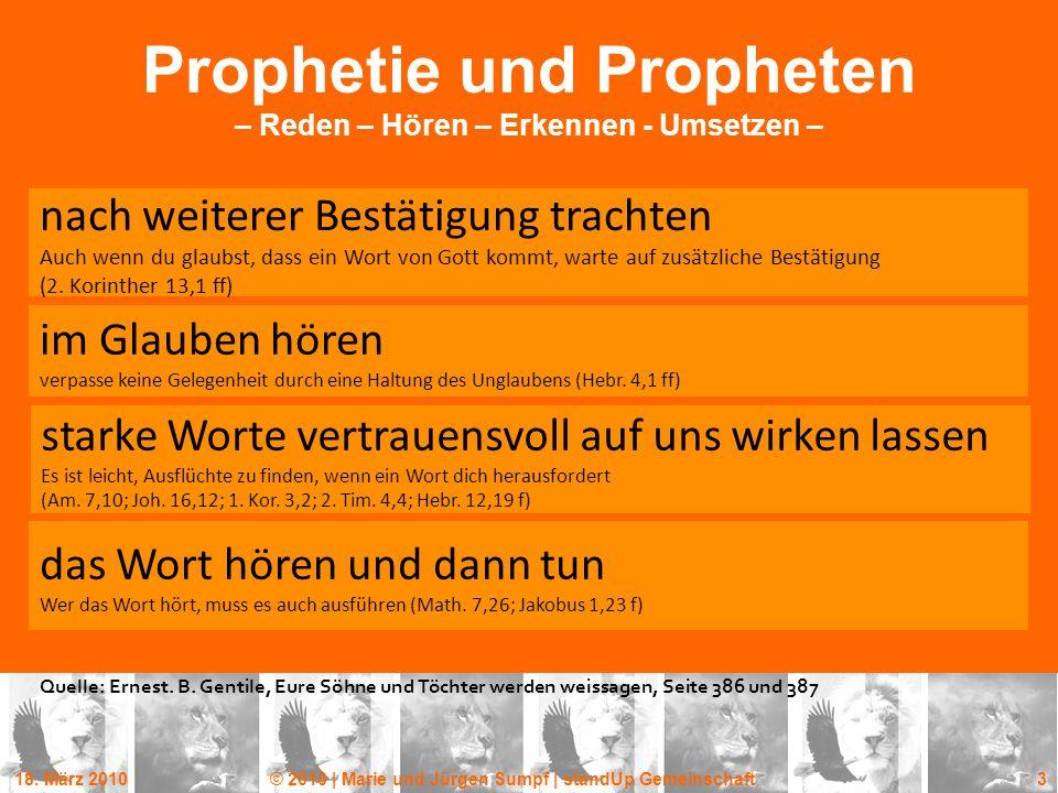 Prophetie und Propheten – Reden – Hören – Erkennen - Umsetzen –