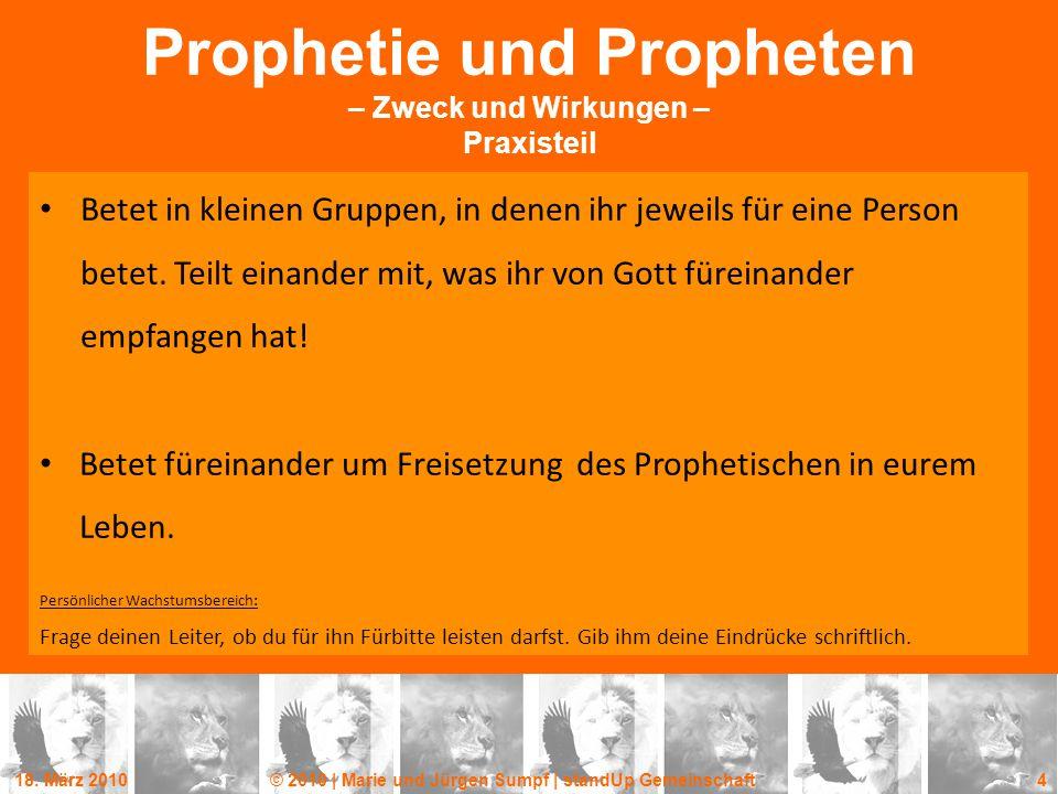 Prophetie und Propheten – Zweck und Wirkungen – Praxisteil