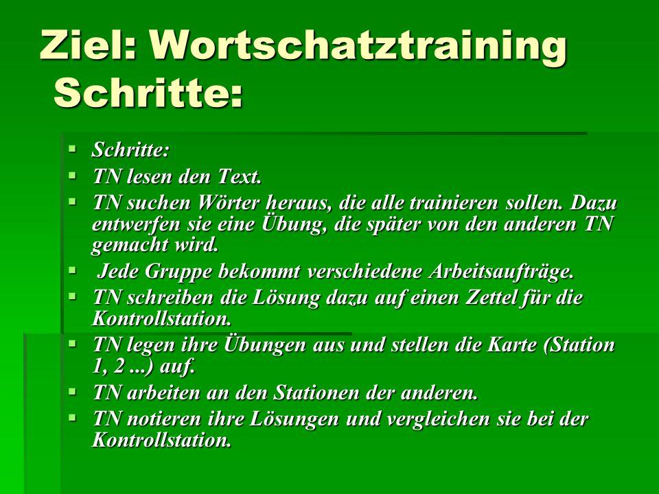 Ziel: Wortschatztraining Schritte: