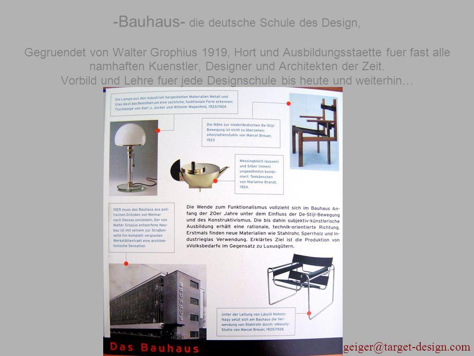 -Bauhaus- die deutsche Schule des Design, Gegruendet von Walter Grophius 1919, Hort und Ausbildungsstaette fuer fast alle namhaften Kuenstler, Designer und Architekten der Zeit.
