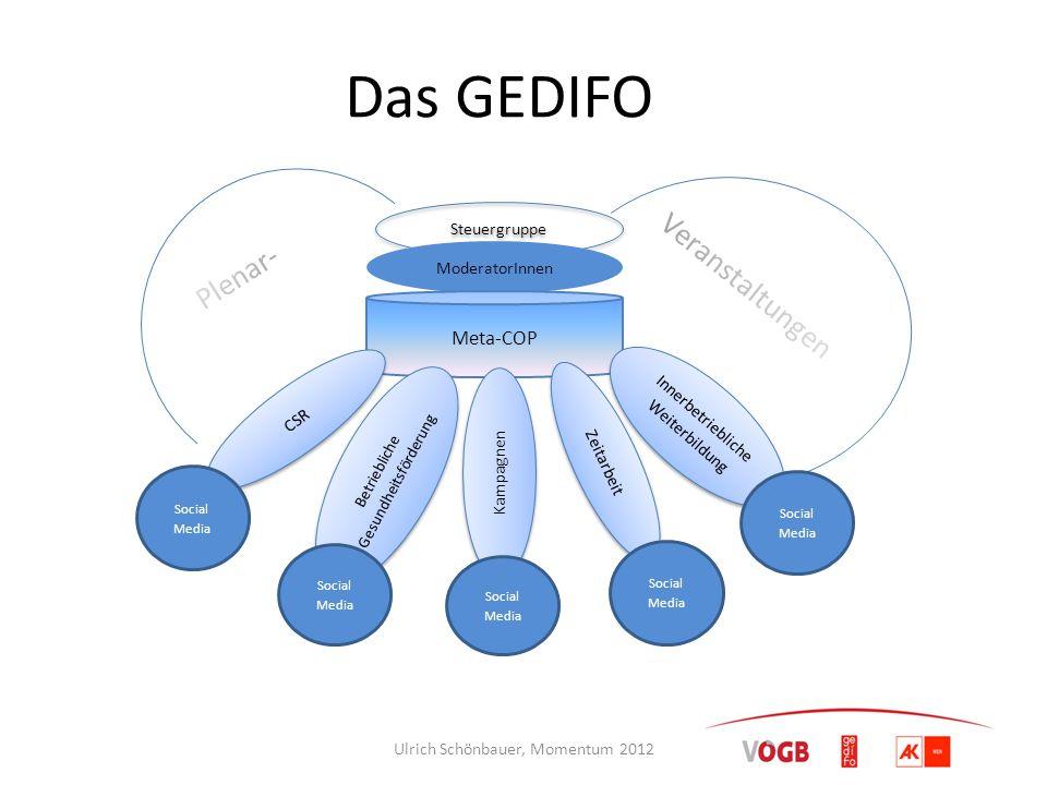 Das GEDIFO Plenar- Veranstaltungen Meta-COP Steuergruppe