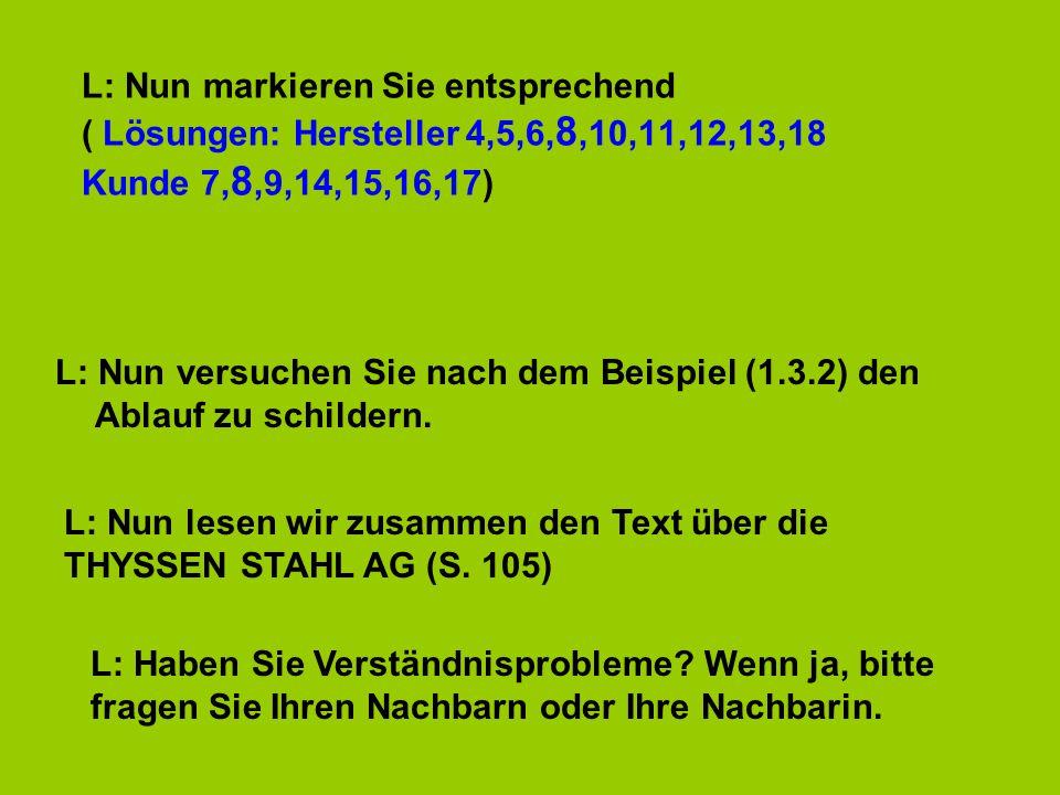 L: Nun markieren Sie entsprechend ( Lösungen: Hersteller 4,5,6,8,10,11,12,13,18 Kunde 7,8,9,14,15,16,17)