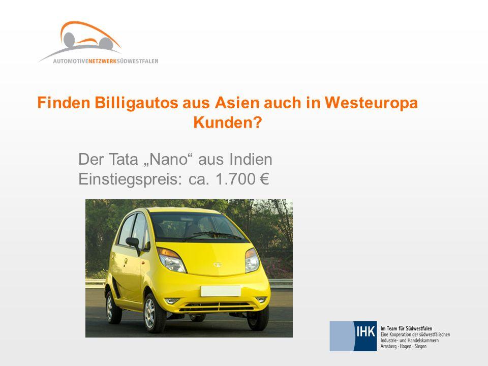 Finden Billigautos aus Asien auch in Westeuropa Kunden