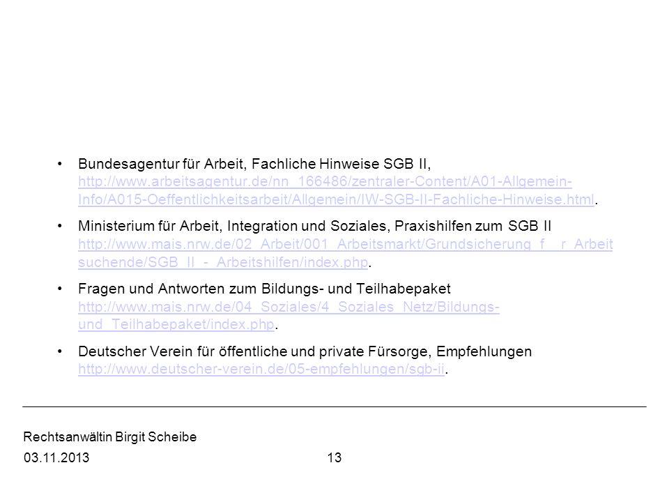 Bundesagentur für Arbeit, Fachliche Hinweise SGB II, http://www