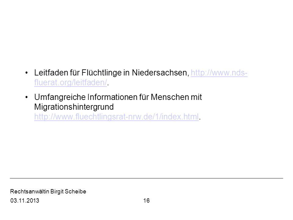 Leitfaden für Flüchtlinge in Niedersachsen, http://www. nds-fluerat