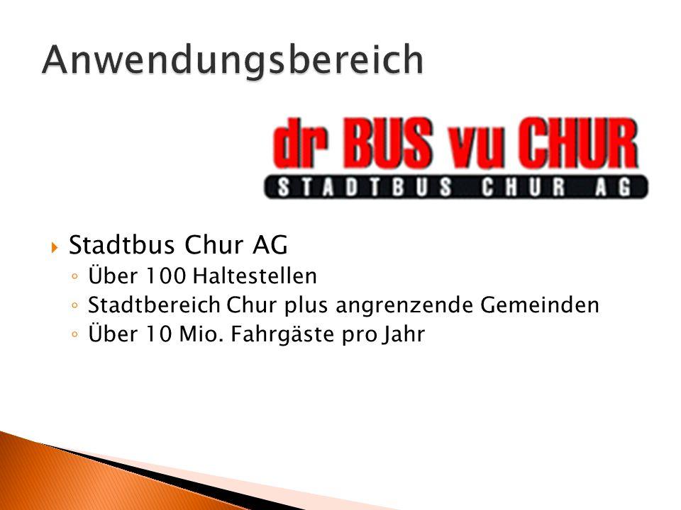 Anwendungsbereich Stadtbus Chur AG Über 100 Haltestellen