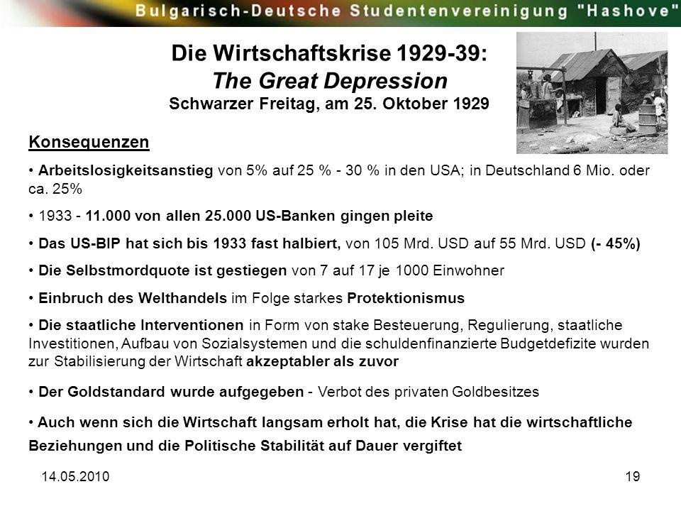 Die Wirtschaftskrise 1929-39: Schwarzer Freitag, am 25. Oktober 1929