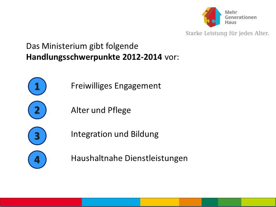 Das Ministerium gibt folgende Handlungsschwerpunkte 2012-2014 vor: