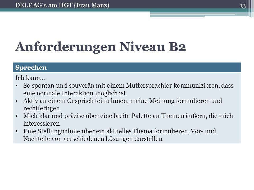 Anforderungen Niveau B2