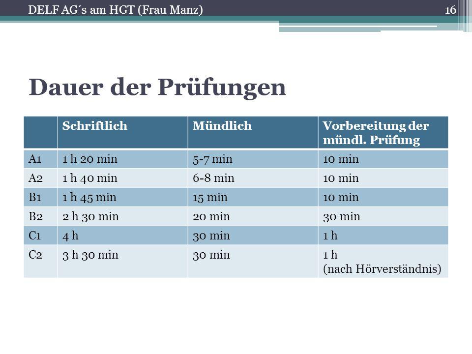 Dauer der Prüfungen DELF AG´s am HGT (Frau Manz) Schriftlich Mündlich