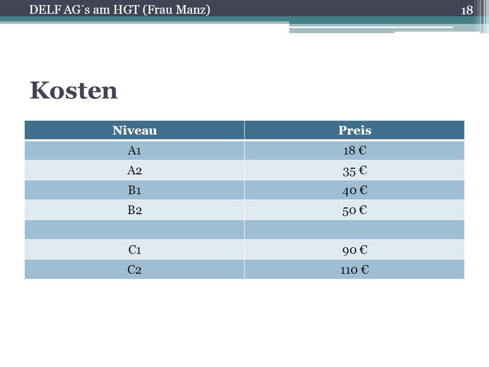 Kosten DELF AG´s am HGT (Frau Manz) Niveau Preis A1 18 € A2 35 € B1