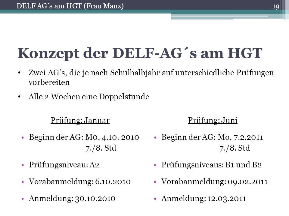 Konzept der DELF-AG´s am HGT