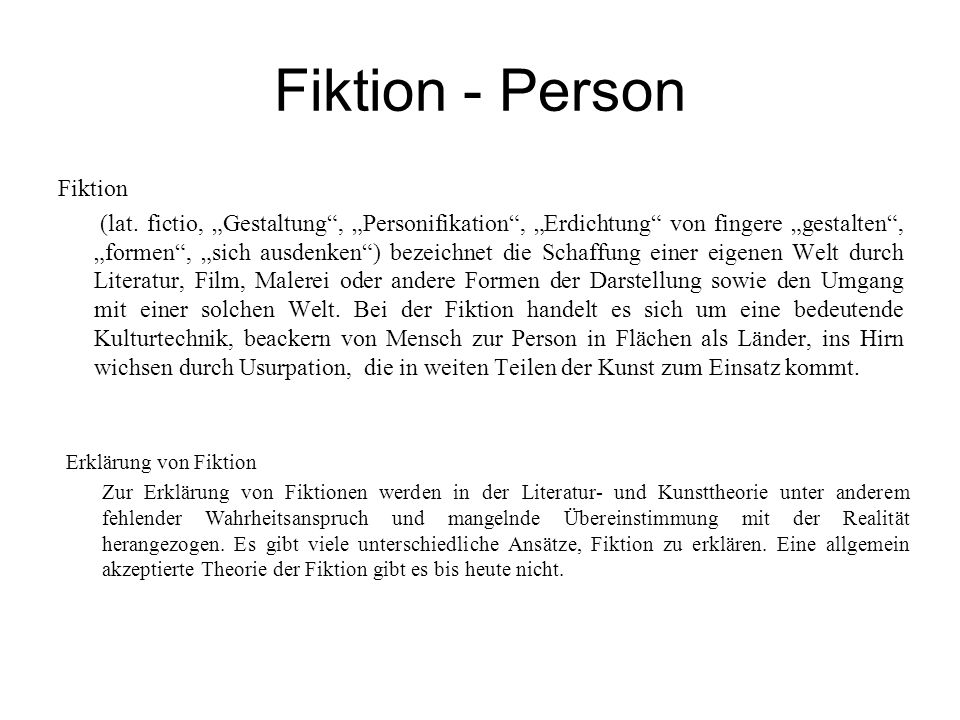 Fiktion - Person Fiktion