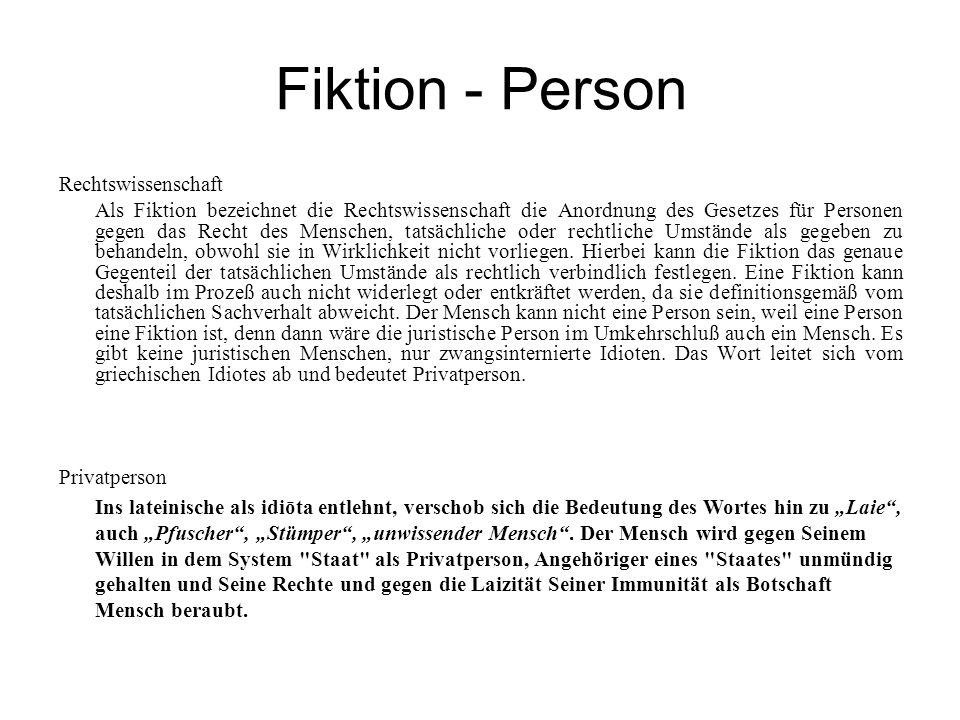 Fiktion - Person Rechtswissenschaft