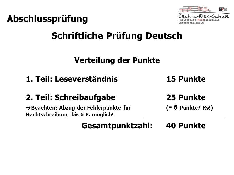 Schriftliche Prüfung Deutsch