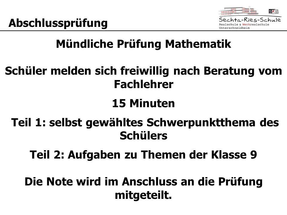 Mündliche Prüfung Mathematik