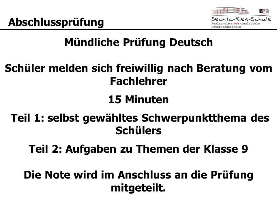 Mündliche Prüfung Deutsch