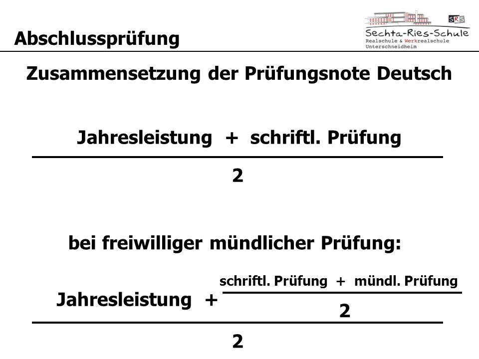 Zusammensetzung der Prüfungsnote Deutsch