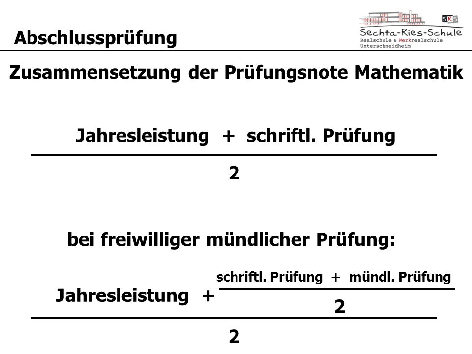 Zusammensetzung der Prüfungsnote Mathematik