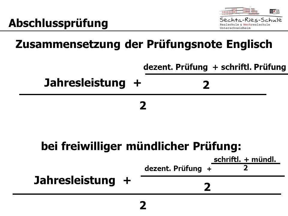 Zusammensetzung der Prüfungsnote Englisch