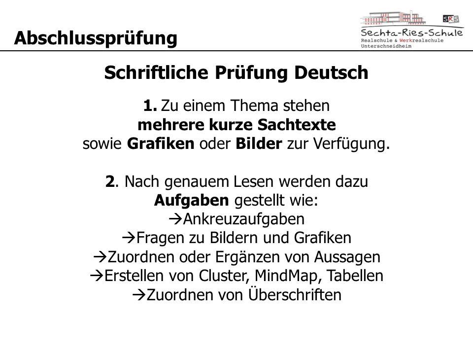 Schriftliche Prüfung Deutsch mehrere kurze Sachtexte