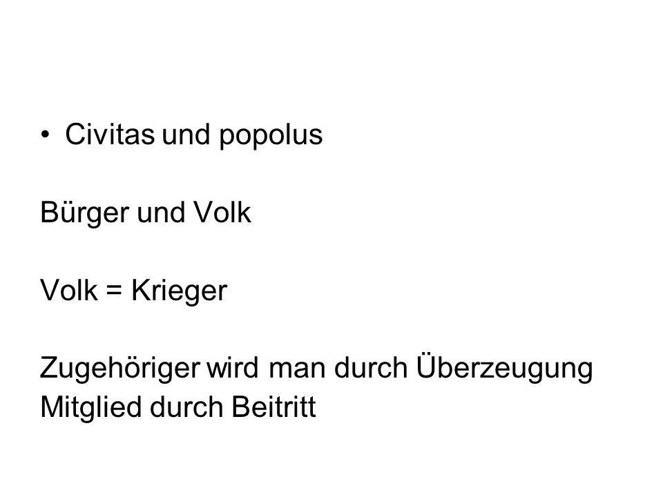 Civitas und popolus Bürger und Volk. Volk = Krieger.