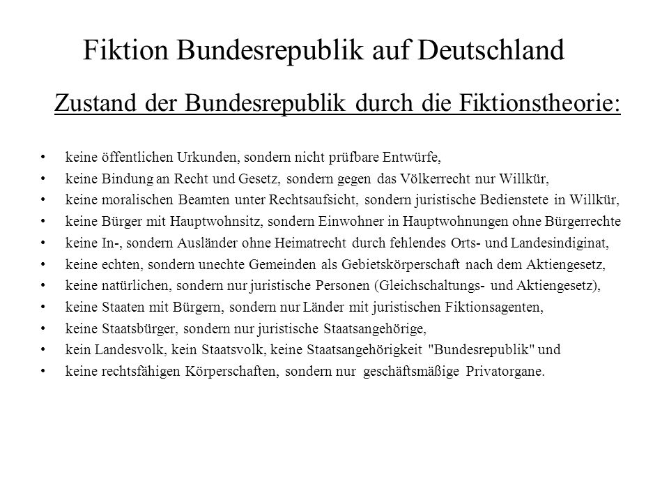 Fiktion Bundesrepublik auf Deutschland