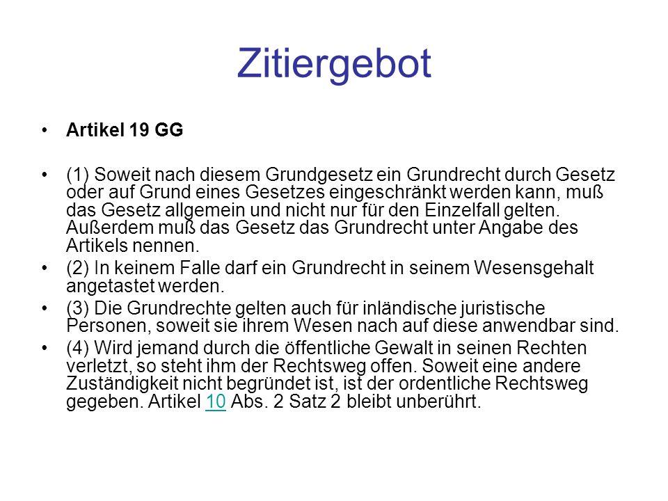 Zitiergebot Artikel 19 GG
