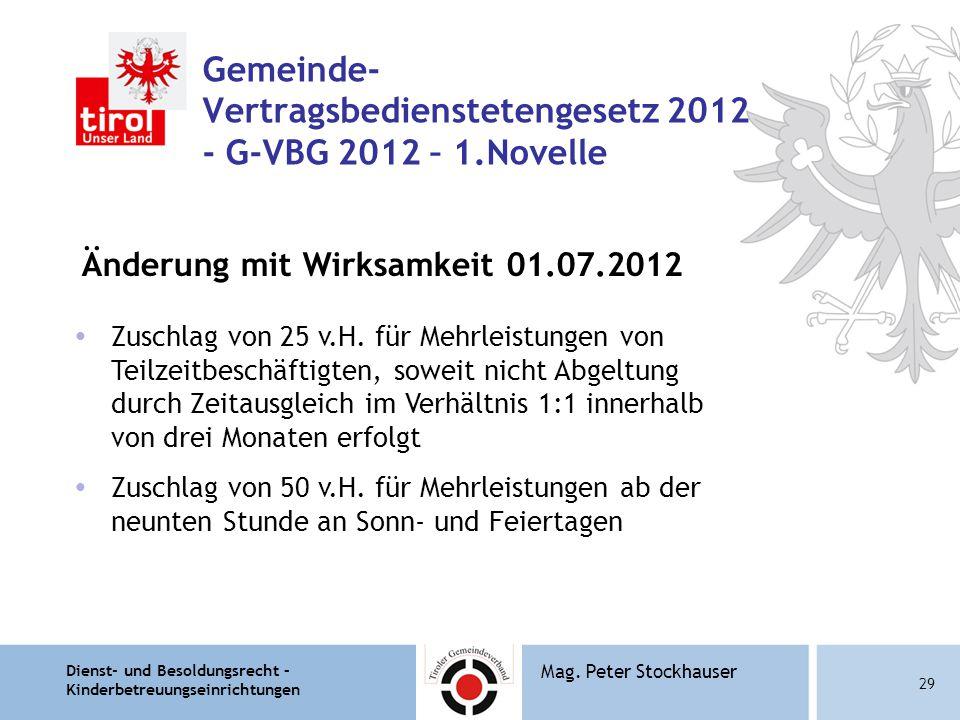 Gemeinde- Vertragsbedienstetengesetz 2012 - G-VBG 2012 – 1.Novelle