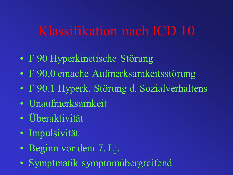 Klassifikation nach ICD 10