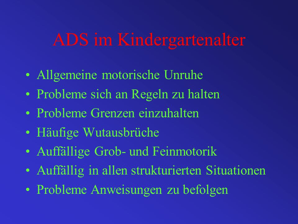 ADS im Kindergartenalter