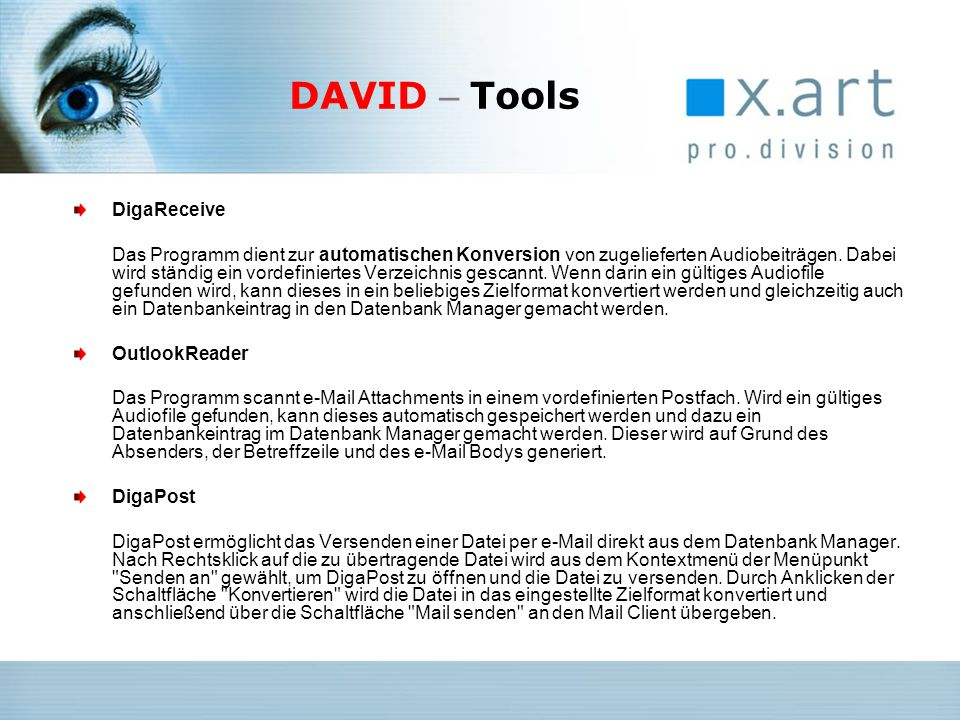 DAVID – Tools DigaReceive OutlookReader