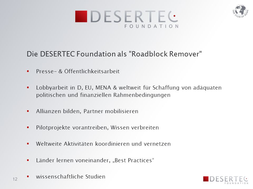 Die DESERTEC Foundation als Roadblock Remover