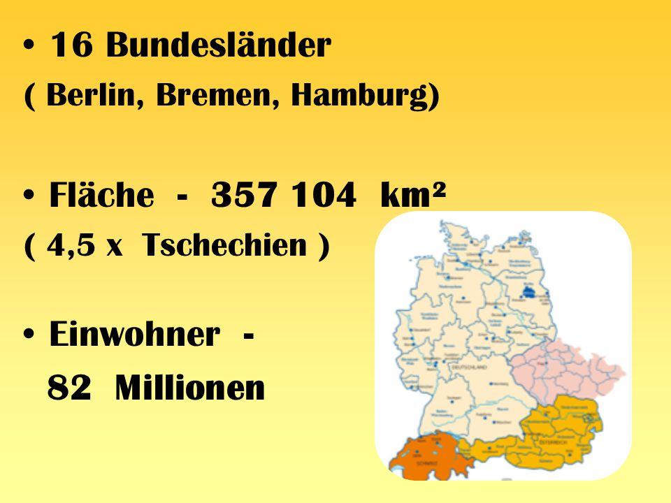 16 Bundesländer Fläche - 357 104 km² Einwohner - 82 Millionen