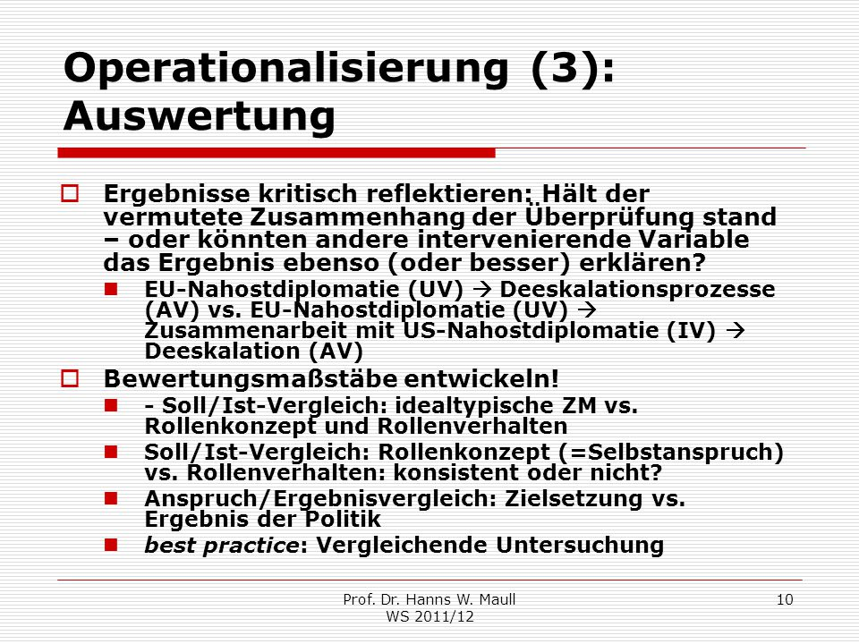 Operationalisierung (3): Auswertung